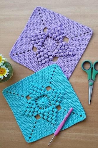 Popcorn Stitch Flower Easy Crochet Square Pattern by Yarn & Hooks