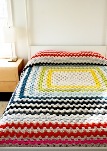 Giant, Giant Granny Square Bedspread Crochet Pattern by Purl Soho
