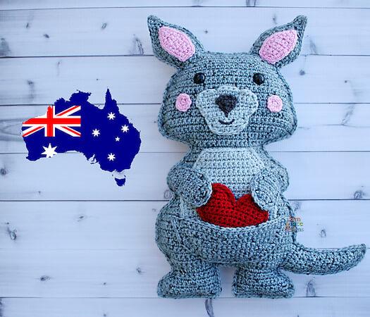 Kangaroo Crochet Pattern by 3am Grace Designs