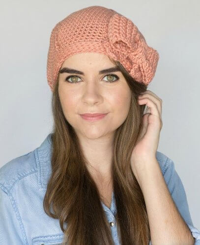 Peaches & Cream French Beret Crochet Pattern by Olivia Kent