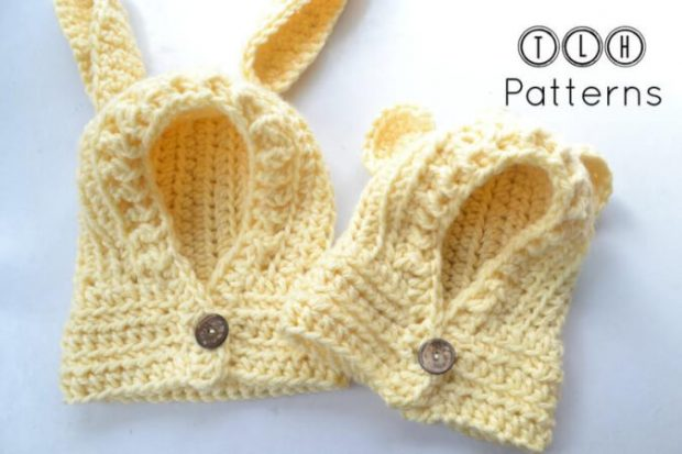 Crochet Hood with Rabbit and Bear Ears Cowl Pattern by TLHpatterns