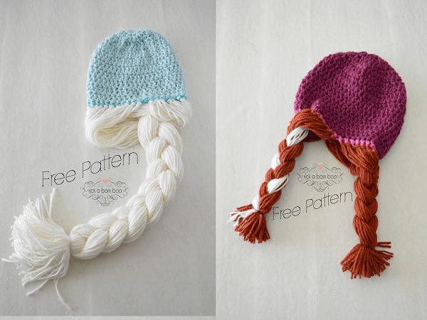 Anna And Elsa Crochet Hats Pattern by Amber Simmons