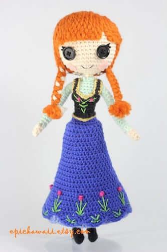 Crochet Anna Frozen Amigurumi Pattern by Epic Kawaii