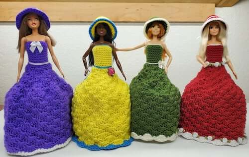 Barbie Dress Toilet Paper Cover Crochet Pattern by Crochetin With Alana