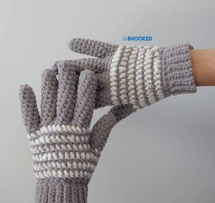 Cozy Striped Free Crochet Gloves Pattern by B Hooked Crochet