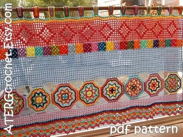 Boho Crochet Curtain Pattern by ATERG Crochet