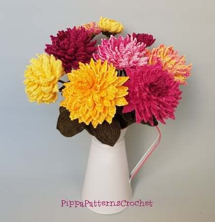 Crochet Dahlia Flower Bouquet Pattern by Pippa Patterns Crochet