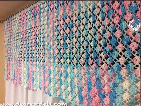 Crochet Flower Lattice Curtain Pattern by Dearest Debi