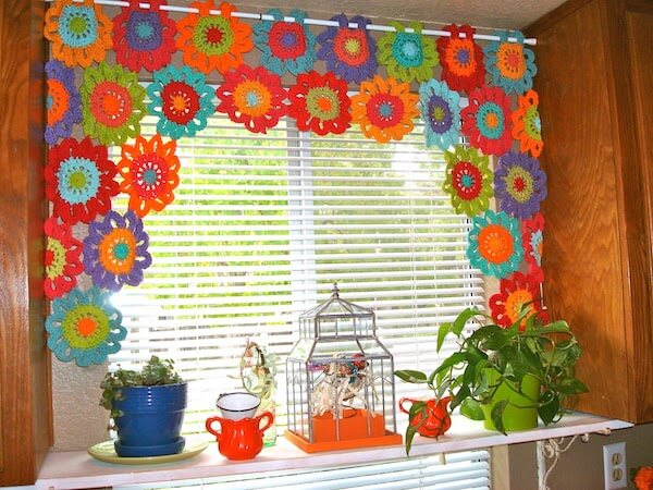 Crochet Flower Power Valance Pattern by Once Upon A Pink Moon