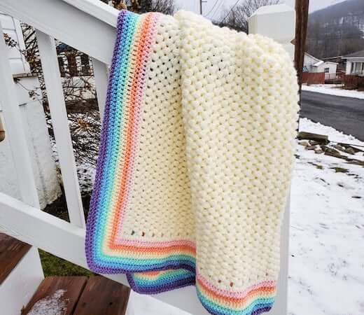 Crochet Rainbow Baby Blanket Pattern by Highland Hickory Designs