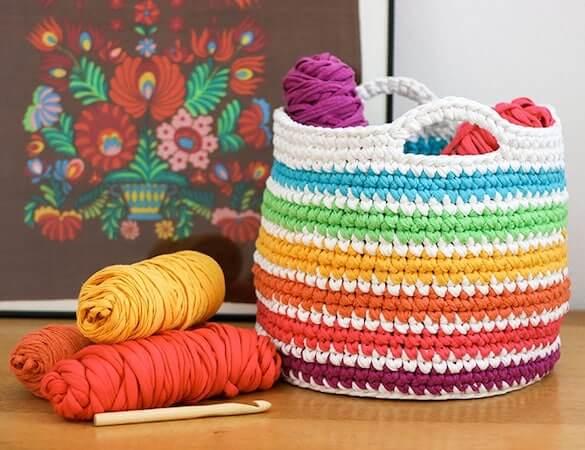 Basket Free Crochet Rainbow Pattern by My Poppet Makes
