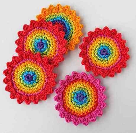 Crochet Rainbow Flowers Applique Pattern by Annie Design Crochet