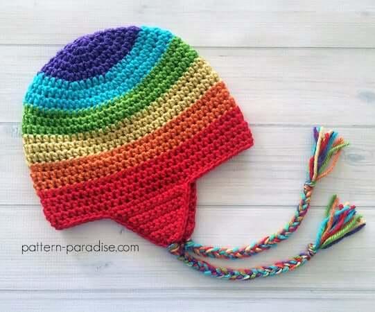 Crochet Rainbow Hat Pattern by The Pattern Paradise