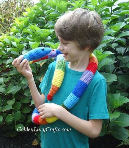 Crochet Rainbow Snake Pattern by Golden Lucy Crafts