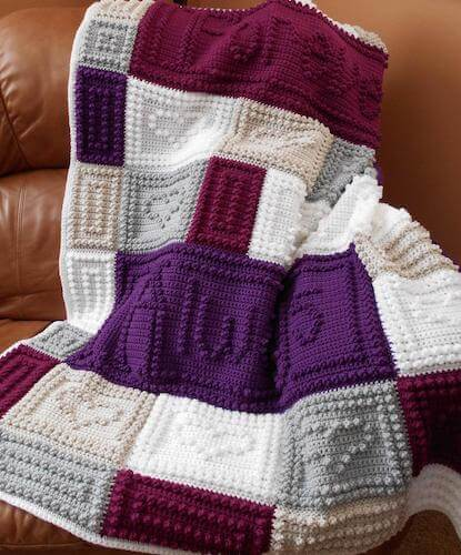 Crochet Wedding Blanket Pattern by Color And Shape Design