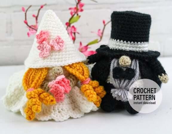 Crochet Wedding Gnomes Pattern by Winding Road Crochet