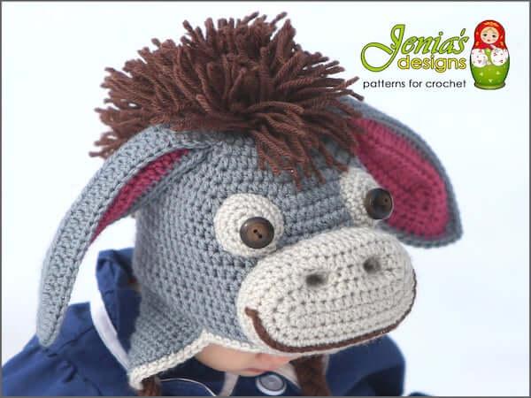 Eeyore Inspired Hat Crochet Pattern by Jenia's Designs