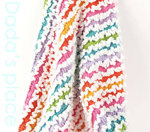 Free Rainbow Ruffle Blanket Crochet Pattern by Dada's Place
