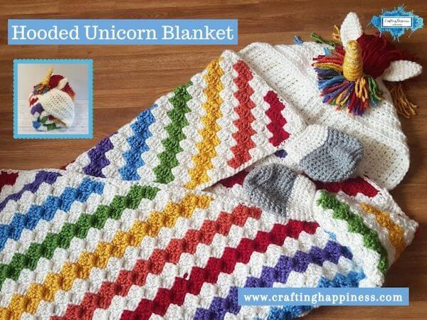 Rainbow Unicorn Blanket Crochet Pattern by Crafting Happiness