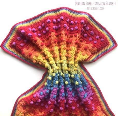 Modern Bobble Rainbow Blanket Crochet Pattern by Melu Crochet