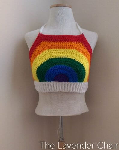 Rainbow Crop Top Free Crochet Pattern by The Lavender Chair