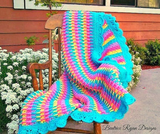 Rainbow Dash Baby Blanket Crochet Pattern by Beatrice Ryan Designs