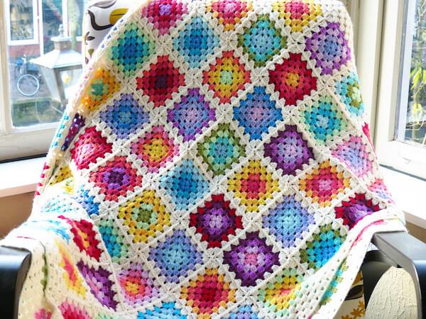 Rainbow Granny Square Blanket Crochet Pattern by Haak Maar Raak