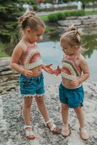 Crochet Rainbow Halter Top Pattern by Crochet Garden