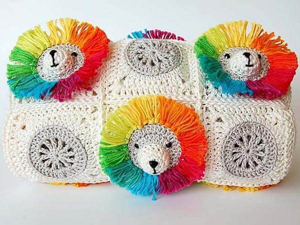 Lion Rainbow Baby Blanket Crochet Pattern by Dada's Place