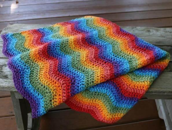 Ripples Rainbow Baby Blanket Crochet Pattern by Jonna Martinez Crochet