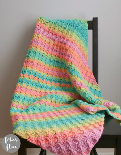 Rainbow Sherbet Blanket Crochet Pattern by Fiber Flux