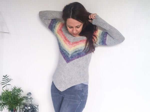 Rainbow Crochet Smiles Sweater Pattern by Dora Does