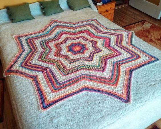 Rainbow Starlight Blanket Crochet Pattern by KAME Crochet Patterns