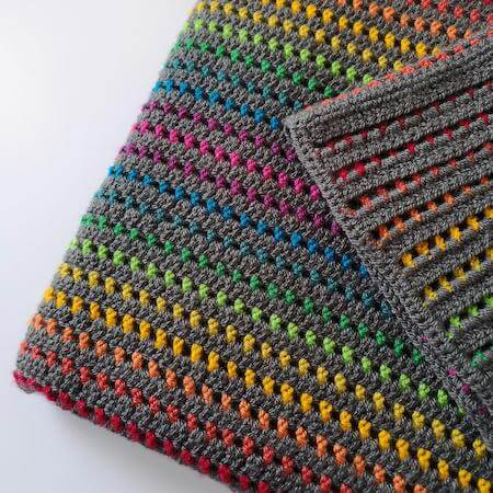 Rainbow Through The Storm Crochet Blanket Pattern by Melly Elly Crafts