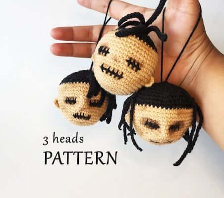 Shrunken Heads For Halloween Amigurumi Pattern by Funny Freaky Toys