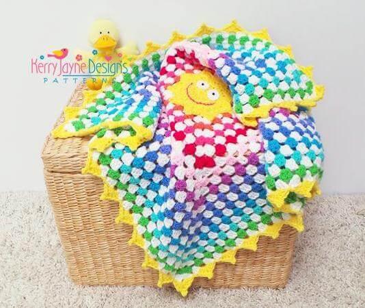 Sunny Rainbow Blanket Crochet Pattern by Kerry Jayne Designs