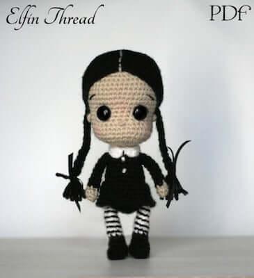 Wednesday Addams Amigurumi Pattern by Elfin Thread