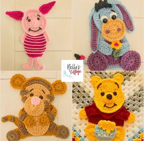 Winnie The Pooh and Friends Applique Crochet Pattern by Nella's Cottage