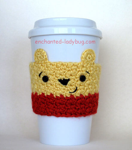 Winnie The Pooh Crochet Cup Cozy Pattern by Enchanted Ladybug