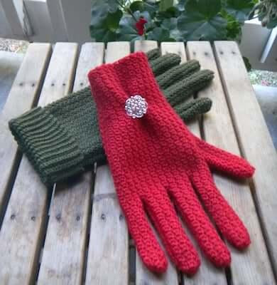 Women's Sock Yarn Gloves Crochet Pattern by Adorish Originals