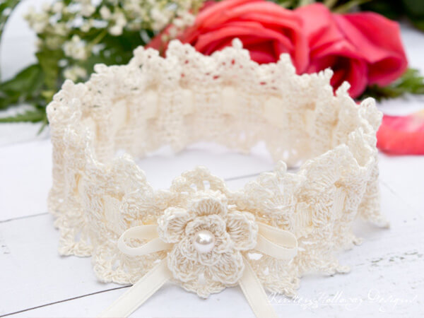 Wrapped In Lace Bridal Garter Crochet Pattern by Kirsten Holloway Designs