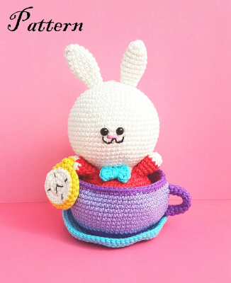 Alice in Wonderland White Rabbit & Tea Cup Crochet Pattern by OctopusCart