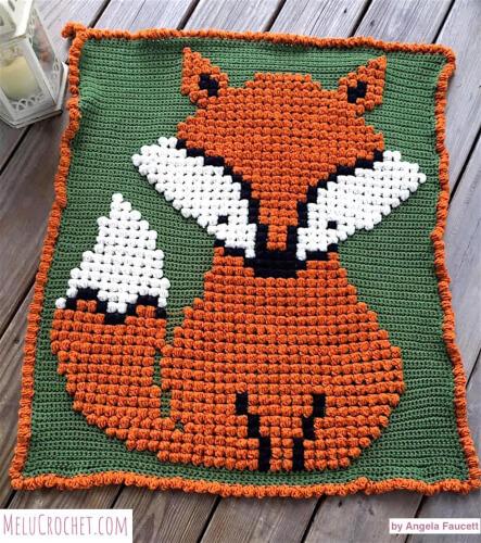 Baby Fox Bobble Stitch Blanket Pattern by Melu Crochet