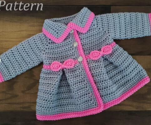 Baby Girl's Pleated Cardigan Crochet Pattern by SatisfyYourYarnings