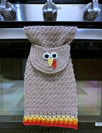 Crochet Turkey Kitchen Towel Pattern by ACrochetedSimplicity