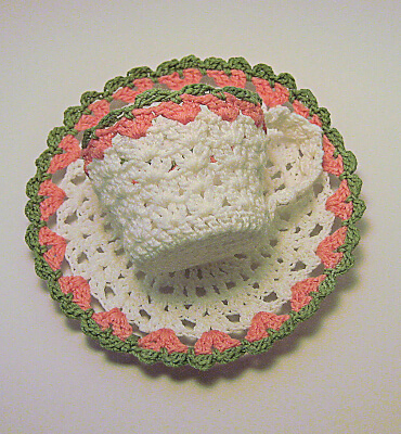 Mother's Day Crochet Tea Cup and Saucer Free Pattern from Turtle Dove Coo