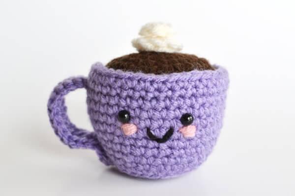 Pincushion Amigurumi Coffee or Tea Cup Crochet Pattern by BubblegumBelles