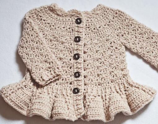 Soft Wool Peplum Crochet Pleated Cardigan Pattern by monpetitviolon