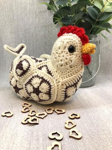 African Flower Chicken Crochet Pattern by Cute Crochet By Sarah B