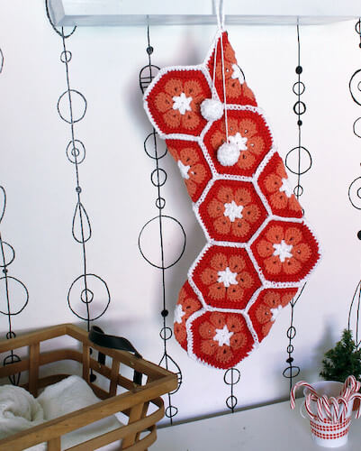 9. African Flower Crochet Stocking Pattern by Petals To Picots